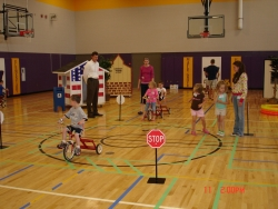 Children playing in a gym at Safety City