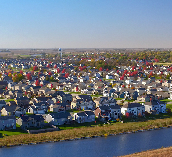 an aerial view of waukee neighborhoods in the fall