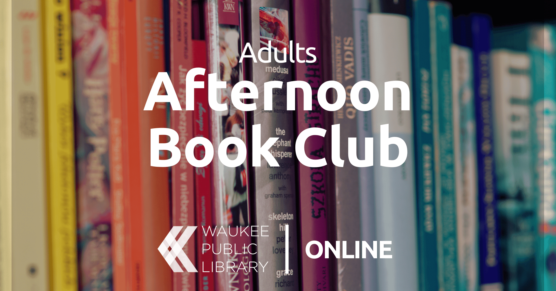 "Multiple colorful books on a shelf with ""Afternoon Book Club, Waukee Public Library Online"""