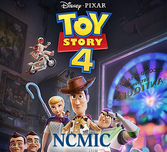movie poster for Toy Story 4 with NCMIC sponsor logo