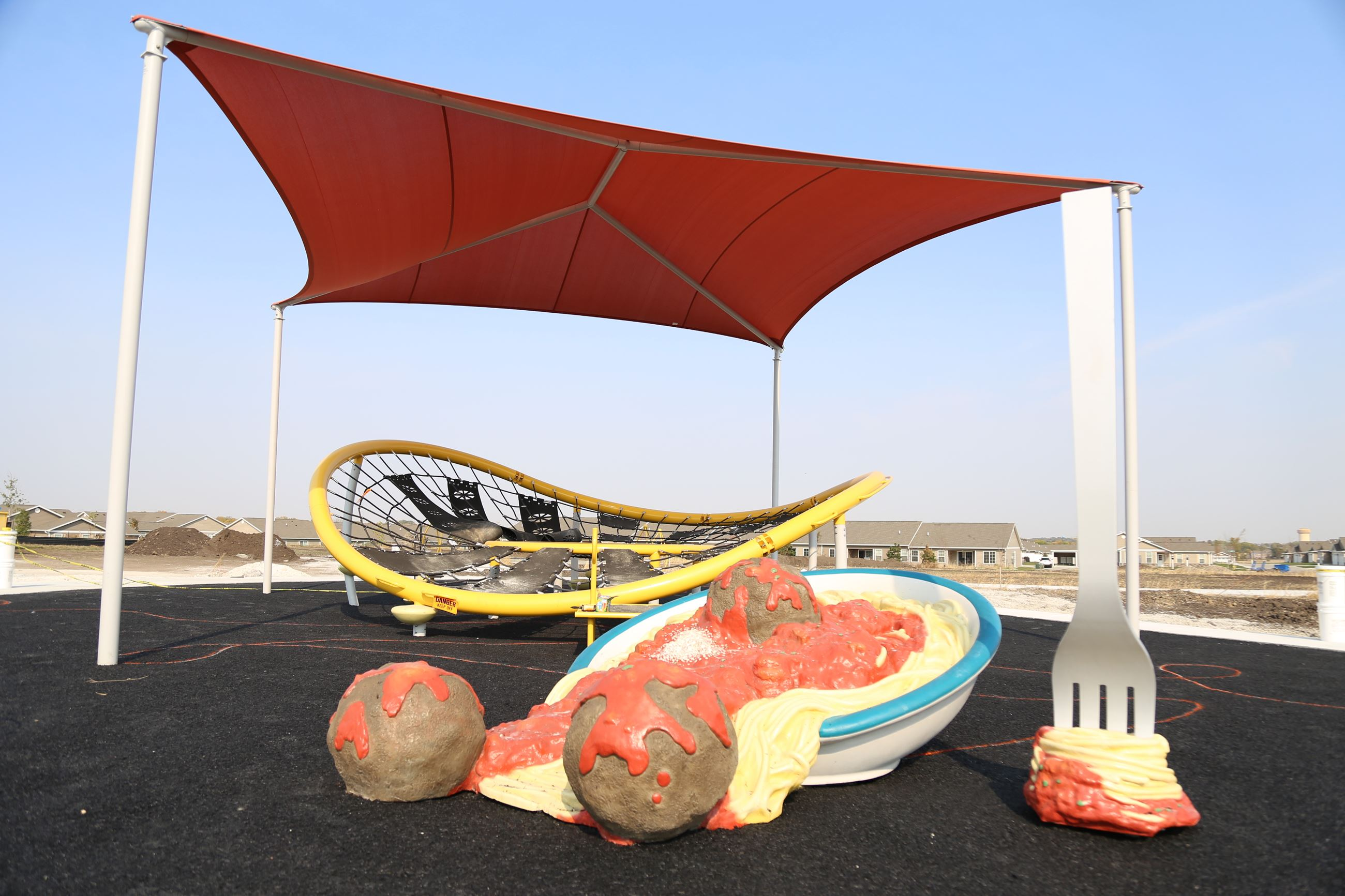 Spaghetti and meatball play equipment at Alice Nizzi Park