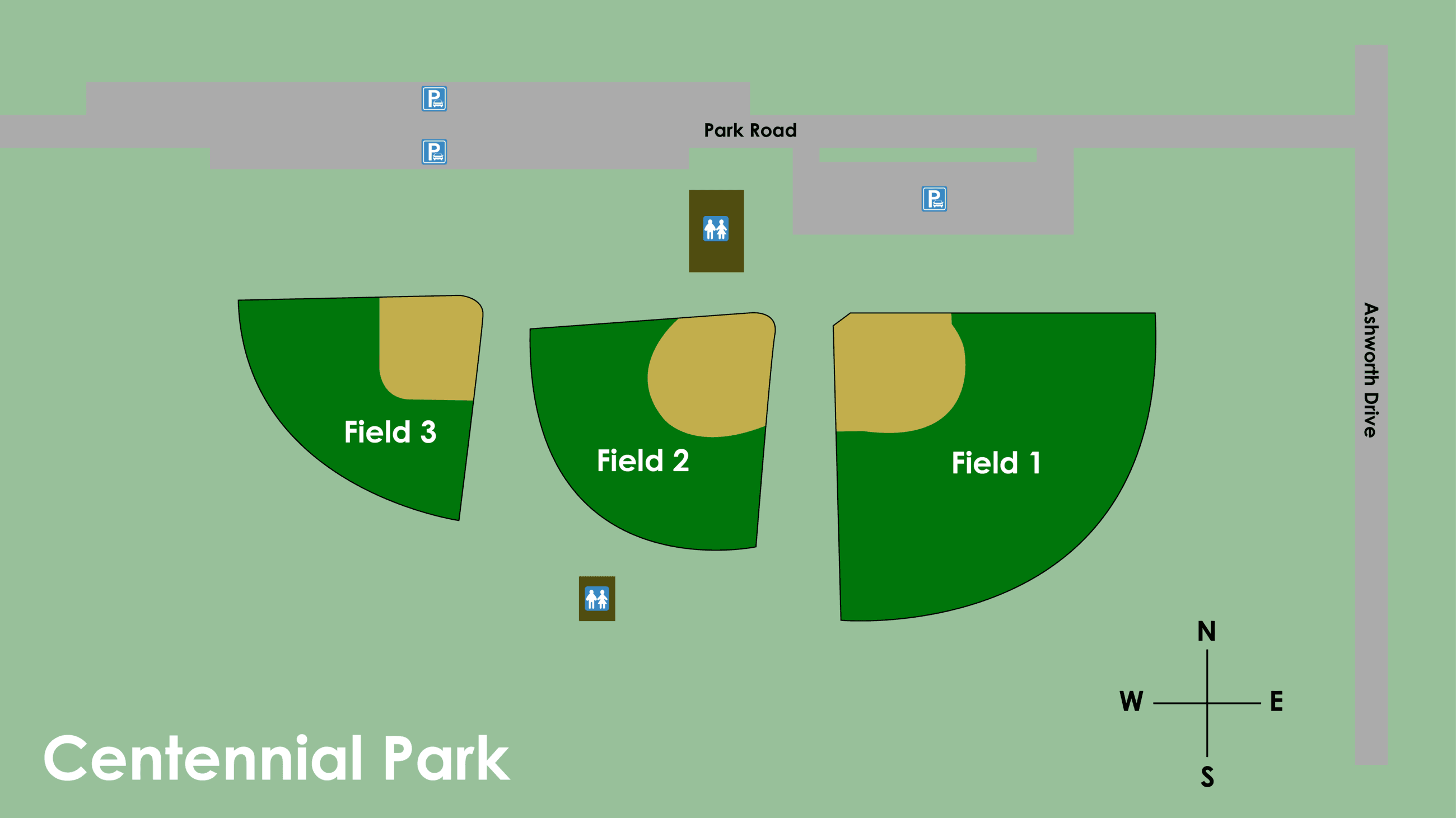 Map of Centennial Park Ball Fields