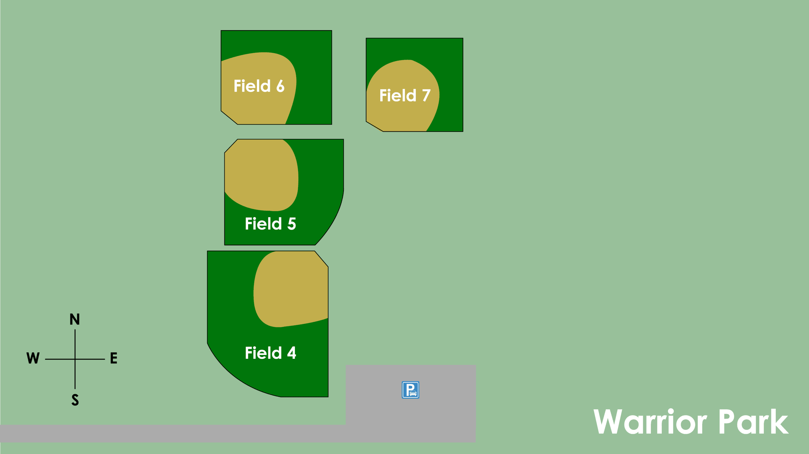 Map of Warrior Park Ball Fields